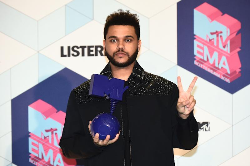 Canadian singer The Weeknd reacts after winning the Best Video award at the MTV Europe Music Awards on November 6, 2016 at the Ahoy Rotterdam in Rotterdam (AFP Photo/John Thys                    )