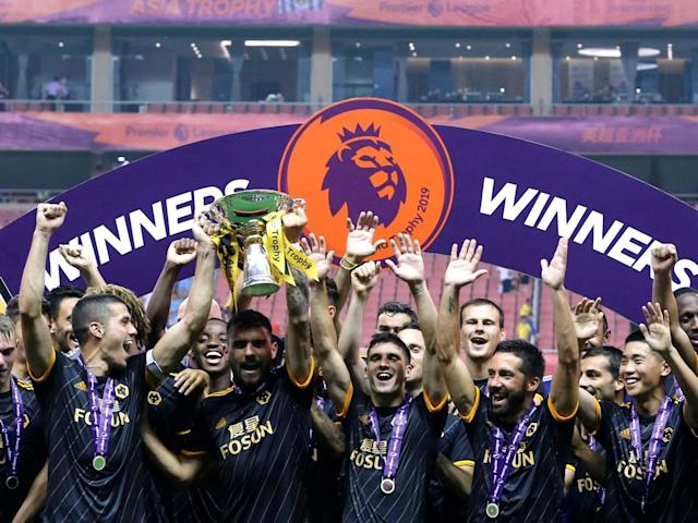 Rui Patricio saved three penalties as Wolves beat Premier League champions Manchester City to claim the Premier League Asia Trophy 3-2 in a penalty shootout in Shanghai.The Portuguese goalkeeper kept out spot kicks from Ilkay Gundogan, David Silva and Lukas Nmecha as Nuno Espirto Santo's Wolves side won the four-team pre-season tournament, which also featured Newcastle United and West Ham United, after the game was goalless at the end of 90 minutes.The match at Hongkou Stadium was a frustrating tale of missed penalties for Pep Guardiola's English champions as Raheem Sterling was also off target from the spot during regulation time.The England international was in electric form in the opening exchanges but failed to cap a fine start with a goal when he fired over the bar from the penalty spot just before the midway point of the first half.Patricio was kept busy in the Wolves goal, with the keeper called upon to make a routine save from Sterling with less than two minutes on the clock before pulling off a reflex save to keep out Aymeric Laporte's close-range attempt.Referee Martin Atkinson awarded City a penalty 20 minutes into the game when Leroy Sane was hauled down by the combined efforts of Conor Coady and Morgan Gibbs-White, only for Sterling to send his spot kick high and wide.Wolves eventually broke out of the City stranglehold to put some pressure on the Premier League champions' goal as the half wore on but it was Guardiola's side who always looked the more likely to score.Patricio denied City again 13 minutes from the end, this time making a flying save to ensure substitute Silva's free kick did not curl inside his left post.Wolves held out despite City dominating possession, clinging on for a scoreless draw to take the game into a penalty shootout where Patricio performed more heroics.Earlier in the day, Yoshinori Muto gave Steve Bruce a winning start to life as Newcastle United head coach when the Japan international scored the only goal of the third-place