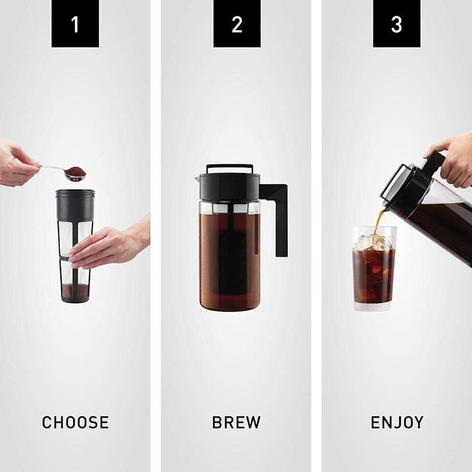 """This is<i>so easy</i>to use and will turn your own kitchen into your new favorite (and much less expensive) coffee shop.Just add coarse-ground coffee into the mesh filter, pour water into the pitcher, screw the lid on (with the filter attached and submerged in the water), let it brew for 12–24 hours, and serve. You can pour it straight over ice cubes, or cut it with water or milk.<br /><br /><strong>Promising review:</strong>""""This coffee maker is my BEST FRIEND! I use this every day, it's so easy to use! My coffee comes out perfect every time. I'm a cold coffee drinker and I put about 8-10 scoops of freshly ground coffee into the filter. I let it sit overnight and the next morning, I remove the filter and dump the grounds. It makes four days' worth of coffee and I love that it's ready to go for me, especially since I wake up at 4:50 a.m. and I need to make my coffee quickly! It's very easy to clean as well."""" —<a href=""""https://www.amazon.com/dp/B00FFLY64U?tag=huffpost-bfsyndication-20&ascsubtag=5833640%2C18%2C43%2Cd%2C0%2C0%2C0%2C962%3A1%3B901%3A2%3B900%3A2%3B974%3A3%3B975%3A2%3B982%3A2%2C0%2C0"""" target=""""_blank"""" rel=""""noopener noreferrer"""">Panda<br /></a><br /><strong>Get it from Amazon for<a href=""""https://www.amazon.com/dp/B00FFLY64U?tag=huffpost-bfsyndication-20&ascsubtag=5833640%2C18%2C43%2Cd%2C0%2C0%2C0%2C962%3A1%3B901%3A2%3B900%3A2%3B974%3A3%3B975%3A2%3B982%3A2%2C0%2C0"""" target=""""_blank"""" rel=""""noopener noreferrer"""">$19.99+</a>(available in two sizes and three colors).</strong>"""