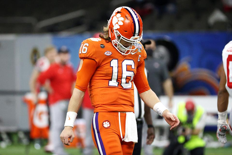 Clemson QB Trevor Lawrence is only former NFL head coach June Jones' third-highest rated QB in the 2021 NFL draft. (Photo by Chris Graythen/Getty Images)