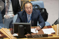 Zhang Jun, permanent representative of China to the United Nations, speaks during a meeting of the United Nations Security Council, Thursday, Sept. 23, 2021, during the 76th Session of the U.N. General Assembly in New York. (AP Photo/John Minchillo, Pool)