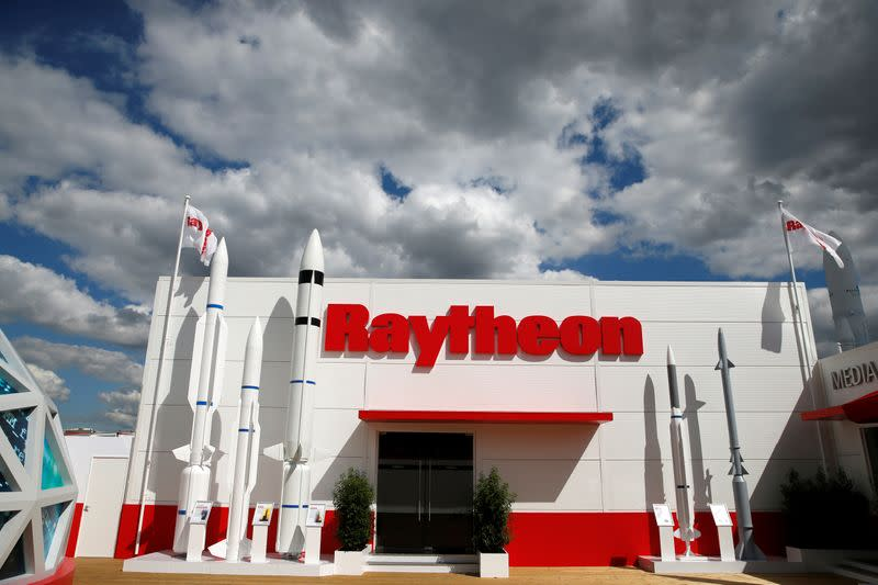 The Raytheon stand is seen at the 53rd International Paris Air Show at Le Bourget Airport near Paris