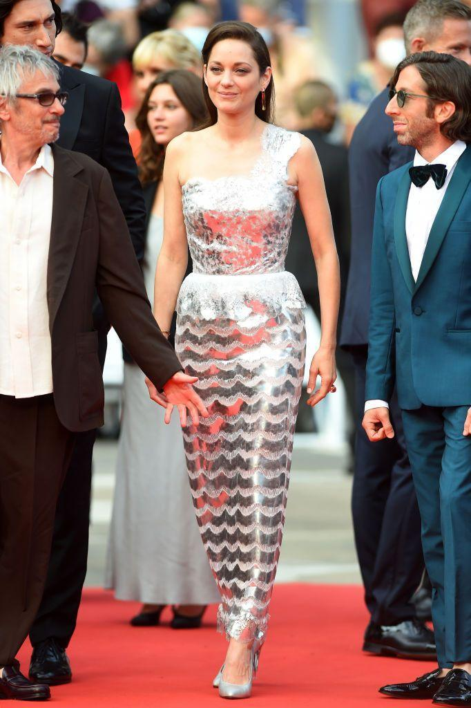 <p>The French star wore sequinned Chanel for the 'Annette' screening. </p>
