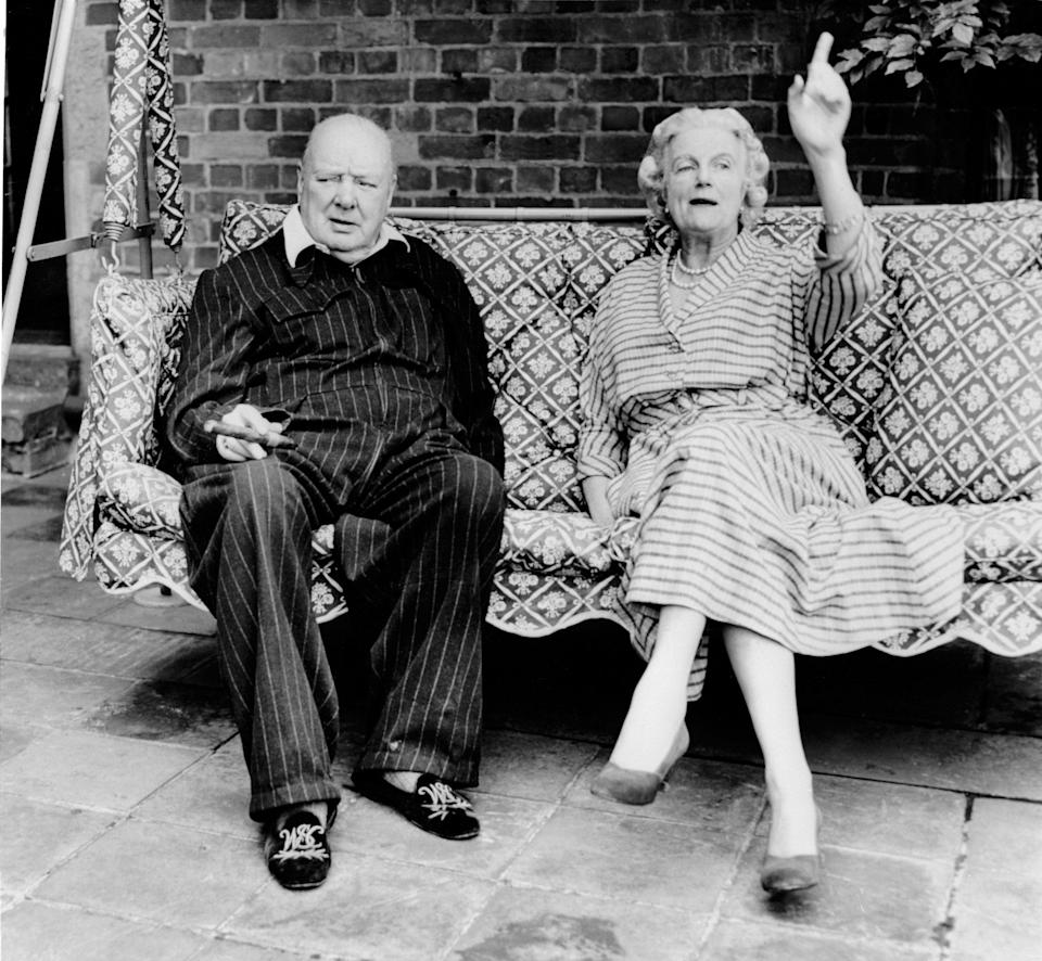 Prime Minister Winston Churchill with wife Clementine at home Chartwell Kent June 1951 - Mirrorpix