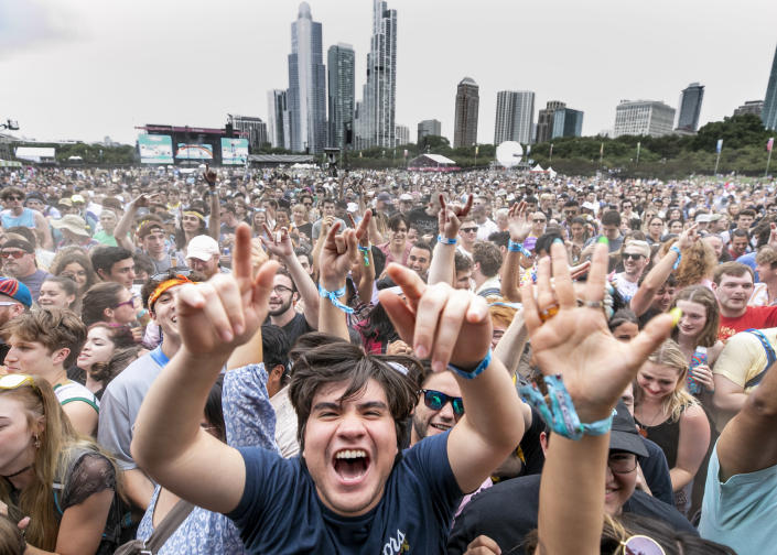 """Festivalgoers attend day 2 of Lollapalooza at Grant Park on July 30, 2021 in Chicago, Illinois.<span class=""""copyright"""">Scott Legato/Getty Images,</span>"""