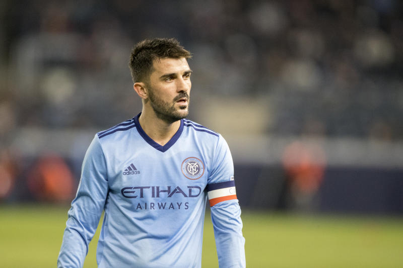 NEW YORK, NEW YORK - October 31: David Villa #7 of New York City during the New York City FC Vs Philadelphia Union MLS Eastern Conference Knockout match at Yankee Stadium on October 31st, 2018 in New York City. (Photo by Tim Clayton/Corbis via Getty Images)
