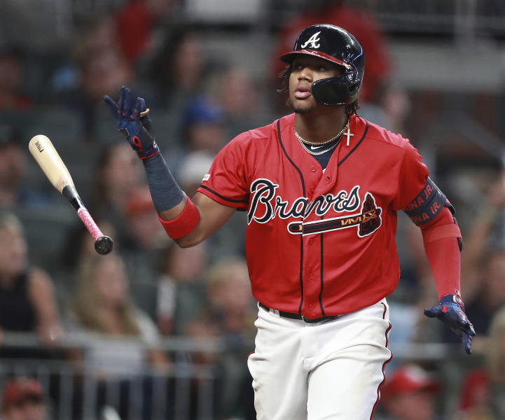 Atlanta Braves Ronald Acuna Jr. hits a 2-RBI home run to take a 4-2 lead over the San Francisco Giants during the fifth inning in a MLB baseball game on Friday, Sept. 20, 2019, in Atlanta. (Curtis Compton/Atlanta Journal-Constitution via AP)