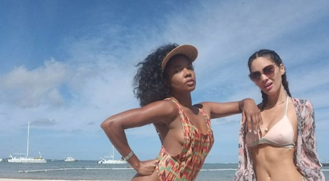 Setting us up for bikini body goals for 2018, Gabrielle Union and Olivia Munn were living large in Punta Cana this holiday season. (Photo: Instagram/@gabunion)