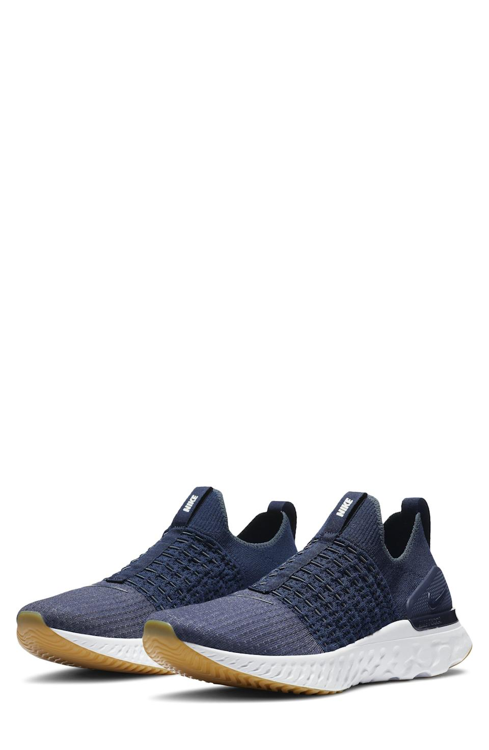"""<p><strong>NIKE</strong></p><p>nordstrom.com</p><p><a href=""""https://go.redirectingat.com?id=74968X1596630&url=https%3A%2F%2Fwww.nordstrom.com%2Fs%2Fnike-react-phantom-run-flyknit-2-running-shoe-men%2F5464706&sref=https%3A%2F%2Fwww.menshealth.com%2Fstyle%2Fg37081969%2Fnordstroms-anniversary-sale-best-sneakers%2F"""" rel=""""nofollow noopener"""" target=""""_blank"""" data-ylk=""""slk:BUY IT HERE"""" class=""""link rapid-noclick-resp"""">BUY IT HERE</a></p><p><del>$140</del><br><strong>$99.90</strong><strong><br></strong></p><p>The brand mixed its signature FlyKnit uppers with a Nike React foam sole, which absorbs impact and distributes weight. Plus, its lightweight construction makes this a perfect pair for sprints and HIIT classes alike.</p>"""