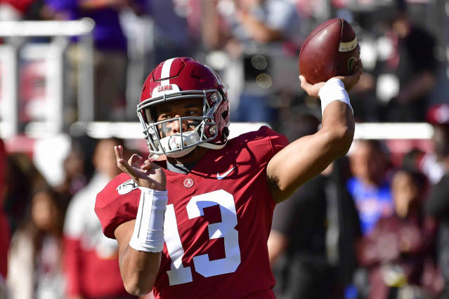 Alabama quarterback Tua Tagovailoa (13) warms up before an NCAA football game against LSU, Saturday, Nov. 9, 2019, in Tuscaloosa , Ala. (AP Photo/Vasha Hunt)