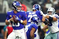 Quarterback Eli Manning #10 of the New York Giants looks to pass during the first quarter of the game against the Dallas Cowboys at AT&T Stadium on September 08, 2019 in Arlington, Texas. (Photo by Tom Pennington/Getty Images)