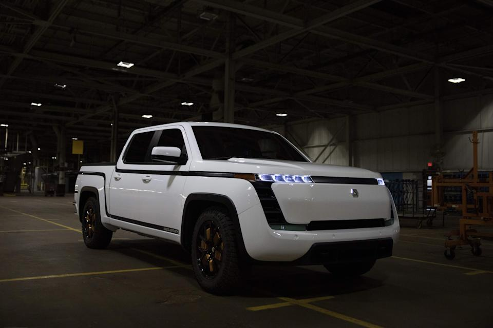 Lordstown Motors, unveils their new electric pickup truck Endurance in Lordstown, Ohio, on October 15, 2020. The old GM factory has been acquired by Lordstown Motors, an electric truck startup. - Workers at the General Motors factory in Lordstown, Ohio, listened when US President Donald Trump said companies would soon be booming. But two years after that 2017 speech, the plant closed. GM's shuttering of the factory was a blow to the Mahoning Valley region of the swing state crucial to the November 3 presidential election, which has dealt with a declining manufacturing industry for decades and, like all parts of the US, is now menaced by the coronavirus. (Photo by MEGAN JELINGER / AFP) (Photo by MEGAN JELINGER/AFP via Getty Images)