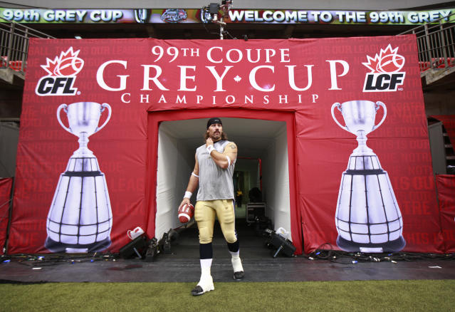 VANCOUVER, CANADA - NOVEMBER 27: Chris Cvetkovic #50 of the Winnipeg Blue Bombers walks onto the field prior to the start the CFL 99th Grey Cup against the BC Lions November 27, 2011 at BC Place in Vancouver, British Columbia, Canada. (Photo by Jeff Vinnick/Getty Images)