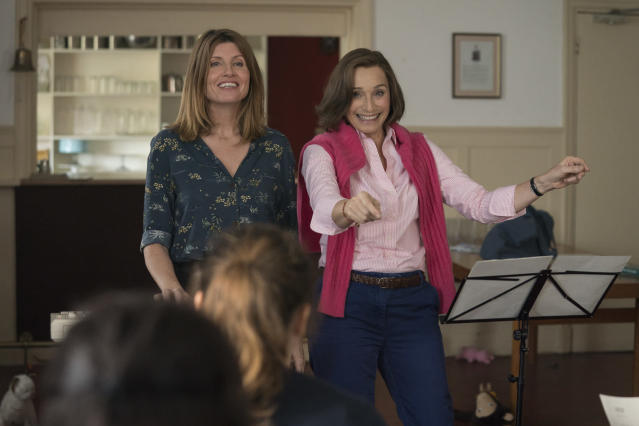 Sharon Horgan and Kristin Scott Thomas in a scene from <i>Military Wives</i>. (Lionsgate)