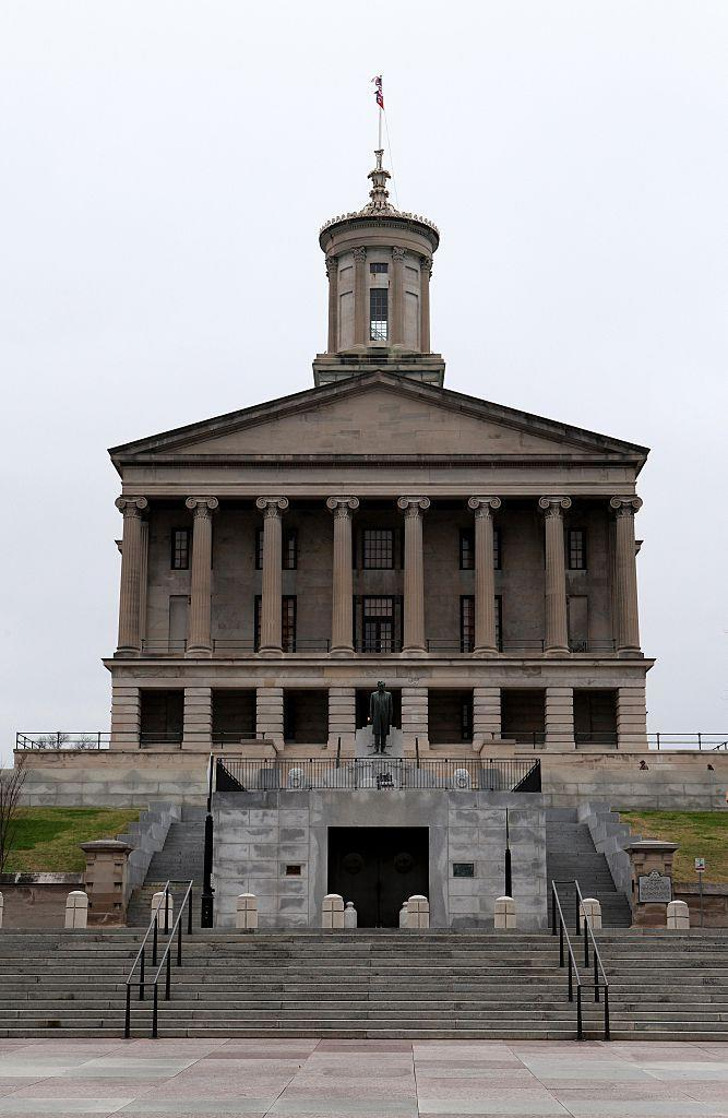 """<p>President James K. Polk and his wife, Sarah, were buried at the State Capitol after their thought-to-be-final resting place (Polk Place) <a href=""""http://mentalfloss.com/article/74227/25-well-tuned-facts-about-tennessee"""" rel=""""nofollow noopener"""" target=""""_blank"""" data-ylk=""""slk:was sold to a developer by their heirs"""" class=""""link rapid-noclick-resp"""">was sold to a developer by their heirs</a>. Their remains were moved to the capitol grounds mainly because no one knew where else to put them. </p>"""