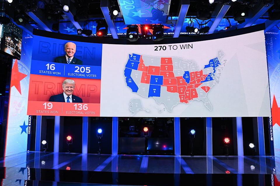 FILE PHOTO: United States map for 2020 Presidential Election Results with Joe Biden (205) BLUE and Donald Trump (136) RED. (Photo by Lorenzo Bevilaqua/ABC via Getty Images)