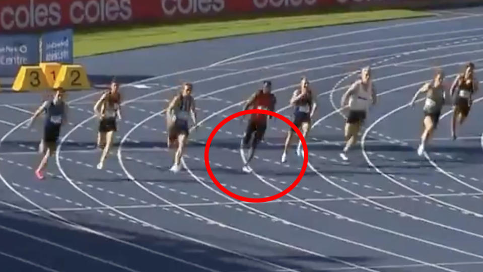 Refugee sprinter Abdoulie Asim won the 200m at the Australian Track and Field Championships last weekend, but was judged to have crossed into another runner's lane and disqualified. Picture: 7Sport