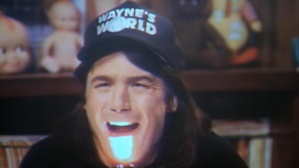 <p>Garth's irrational but hilarious fear of Wayne's Leprechaun impression from the not-at-all scary 'Leprechaun' movies may have tainted the not-at-all scary Leprechaun movies for ever. (Credit: Paramount Pictures) </p>