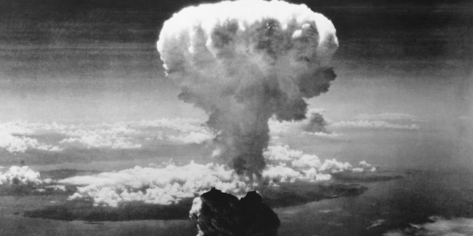A mushroom cloud rises over Nagasaki in Japan as the United States detonated an atomic bomb over the city on August 9, 1945. 'Fat Man' was the codename for the bomb. The first atomic bomb that was dropped on Hiroshima on August 6, 1945 was named 'Little Boy'. Photo: Corbis via Getty Images <br>
