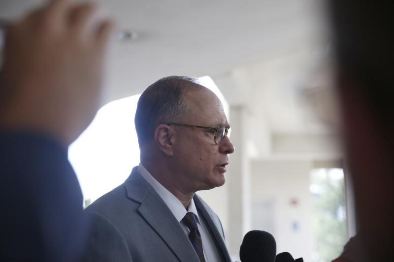 Attorney for the defendants David Frankel speaks during a news conference outside of the Broward County Jail on Monday, Aug. 26, 2019, in Fort Lauderdale, Fla. Three people, including two nurses, are surrendering following charges in the case of a Florida nursing home where 12 patients died after losing power went out amid sweltering heat following Hurricane Irma in 2017. (AP Photo/Brynn Anderson)