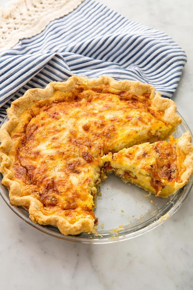 "<p>The absolute best thing to wake up to.</p><p>Get the recipe from <a href=""https://www.delish.com/cooking/recipe-ideas/recipes/a58388/easy-quiche-lorraine-recipe/"" target=""_blank"">Delish</a>.</p><p><a class=""body-btn-link"" href=""https://www.amazon.com/Pyrex-Glass-Bakeware-Pie-Plate/dp/B000EURKG8/"" target=""_blank"">BUY NOW</a> <strong><em>Glass Pie Dish, $7, amazon.com</em></strong></p>"
