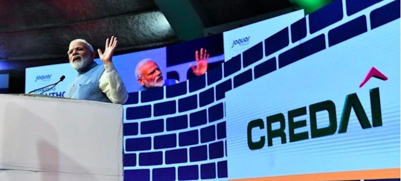 Screenshot of Prime Minister Narendra Modi addressing the CREDAI YouthCon-2019 at the New Delhi's Talkatora Stadium in February 2019.