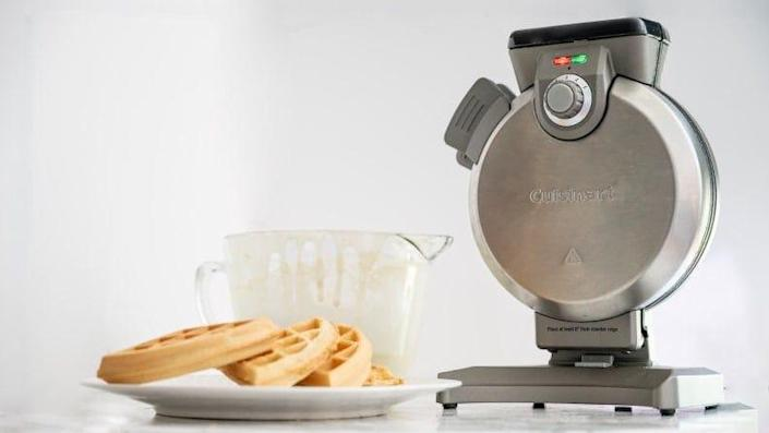 Cuisinart's vertical waffle maker not only bakes great waffles but makes storage easy.