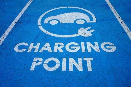An Electric car charging point is seen at the Eurotunnel terminal in Calais, France.