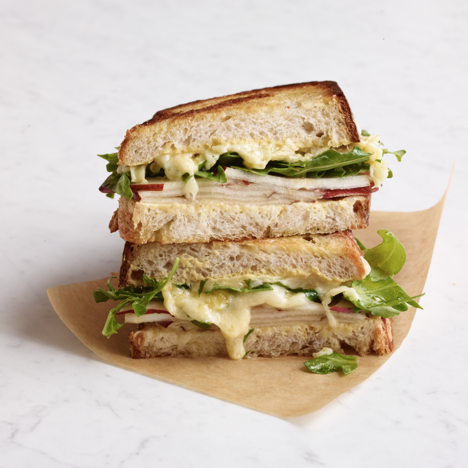 """<p>Grilled cheese is all grown up with sweet pears, creamy Gouda and a swipe of Dijon mustard. Is that a tear in your eye?</p><p><em><a href=""""https://www.goodhousekeeping.com/food-recipes/a15498/pear-gouda-grilled-cheese-recipe-wdy1013/"""" rel=""""nofollow noopener"""" target=""""_blank"""" data-ylk=""""slk:Get the recipe for Pear and Gouda Grilled Cheese »"""" class=""""link rapid-noclick-resp"""">Get the recipe for Pear and Gouda Grilled Cheese »</a></em> </p>"""