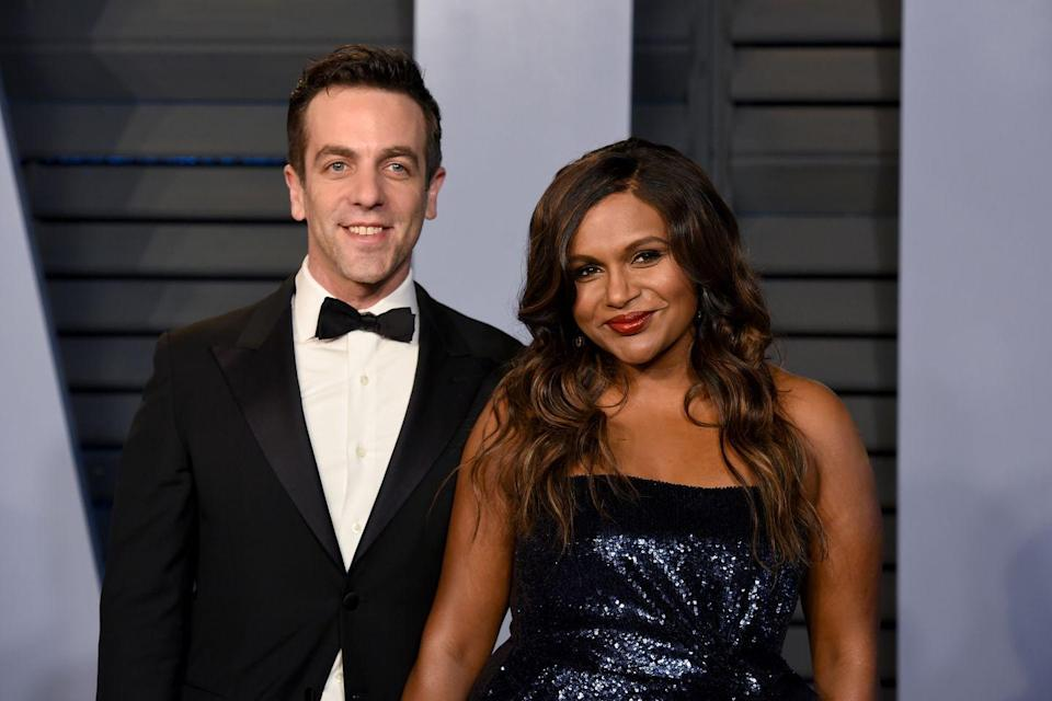 <p>Mindy Kaling and B.J. Novak dated on and off while starring in <em>The Office</em>. But there's definitely no bad blood between the former co-stars, since Kaling brought Novak as her date to Vanity Fair's 2018 Oscars party.</p>