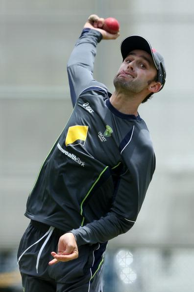 BRISBANE, AUSTRALIA - NOVEMBER 06:  Nathan Lyon bowls during an Australian nets session at The Gabba on November 6, 2012 in Brisbane, Australia.  (Photo by Chris Hyde/Getty Images)