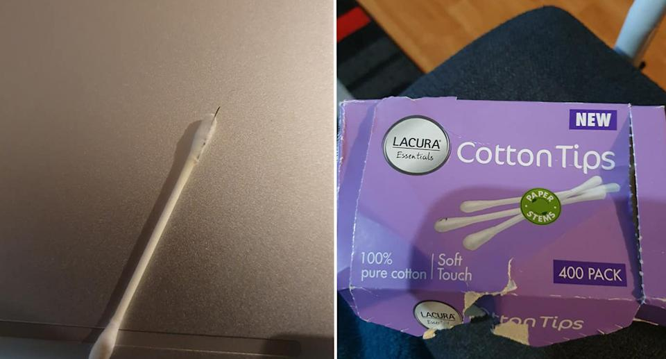 The needle sticking out of the cotton tip and the box it came out of.