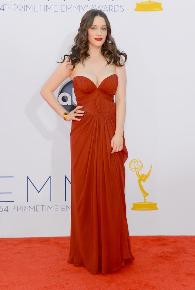 Actress Kat Dennings arrives at the 64th Primetime Emmy Awards at the Nokia Theatre in Los Angeles on September 23, 2012.  (Photo by Frazer Harrison/Getty Images)