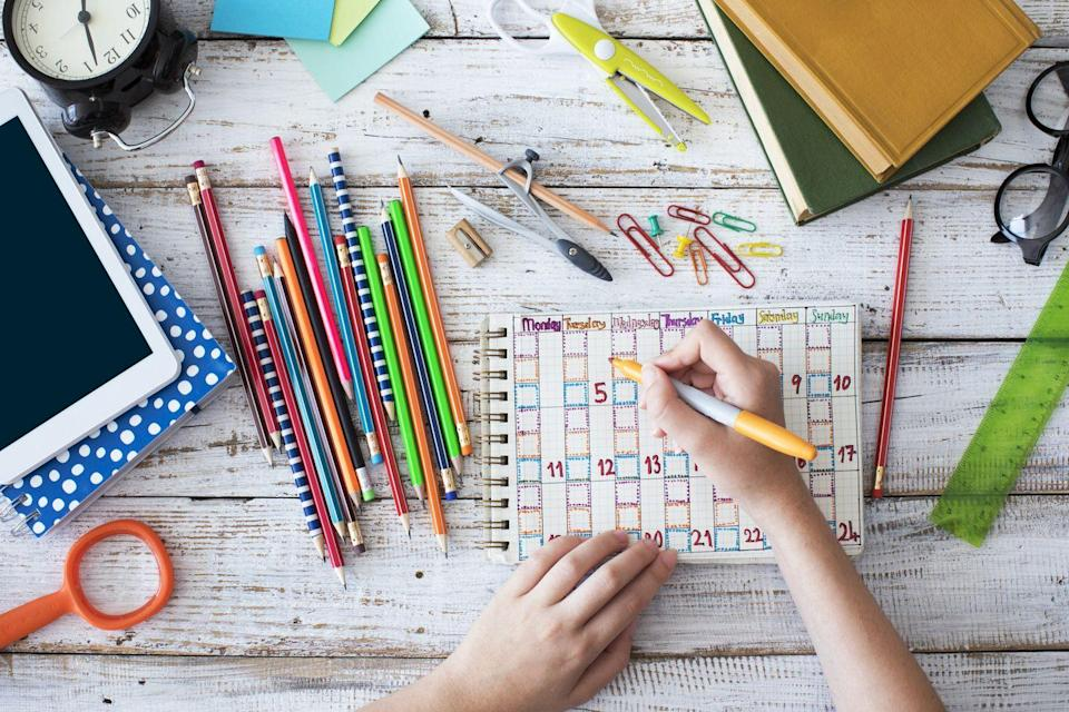 """<p>Establish your homeschool's routine right from the start. """"Routines help learners know what to expect and create smoother transitions between activities. They help learners focus on their current activity without worrying about what is coming next,"""" says <a href=""""https://www.khanacademy.org/"""" rel=""""nofollow noopener"""" target=""""_blank"""" data-ylk=""""slk:Khan Academy"""" class=""""link rapid-noclick-resp"""">Khan Academy</a>'s chief learning officer Kristen DiCerbo. """"Create a routine you will follow each day, walk through it with your child, and start it on your first day.""""</p>"""