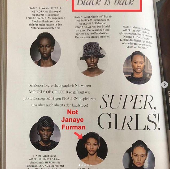 Naomi Campbell pointed out ELLE's mistake in which they confused two models of colour.