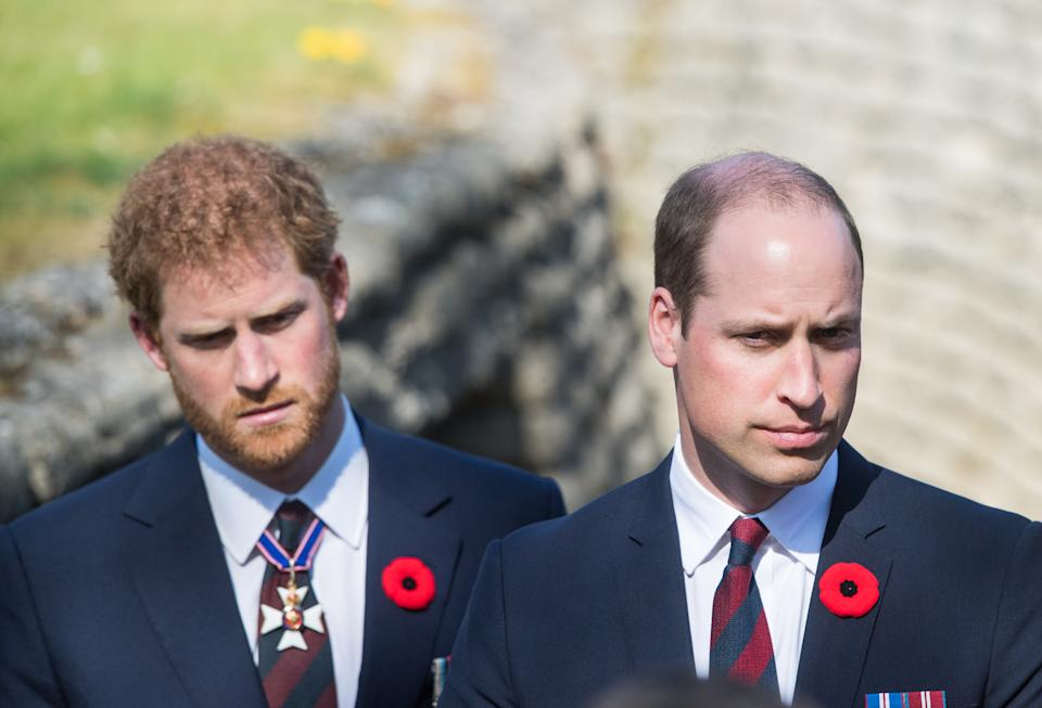 Prince William, Duke of Cambridge and Prince Harry walk through a trench during the commemorations for the 100th anniversary of the battle of Vimy Ridge on April 9, 2017 in Lille, France.