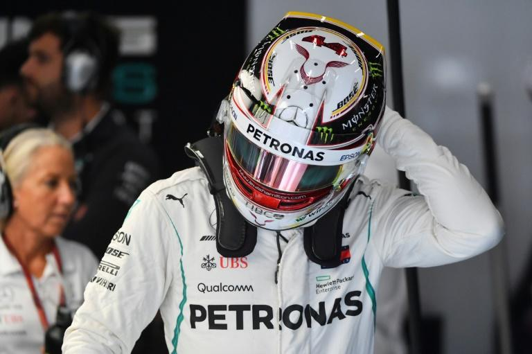 More juice: Lewis Hamilton is pictured in the pits during the second practice session