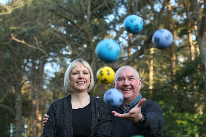 John and Allison McDonald, from Stockton On Tees, celebrating their ??2 million Lotto jackpot win at Crathorne Hall, North Yorkshire.