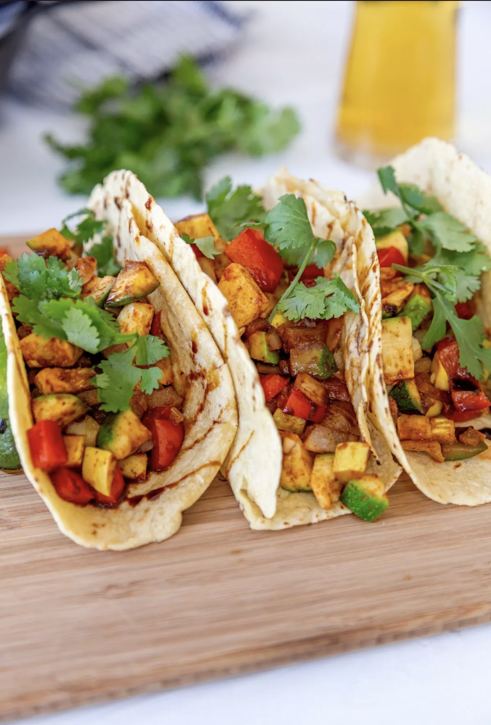 """<p>Balsamic glaze may not scream """"taco ingredient,"""" but its sweet and tangy taste balances out the spicy veggies nicely.</p> <p>Get the recipe <a href=""""https://www.veganosity.com/veggie-tacos-with-balsamic-glaze-vegan/"""" rel=""""nofollow noopener"""" target=""""_blank"""" data-ylk=""""slk:here"""" class=""""link rapid-noclick-resp"""">here</a>.</p>"""