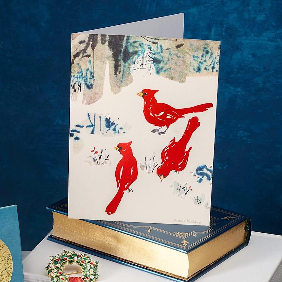 """<strong><h3>The Met Store</h3></strong><br>The Metropolitan Museum of Art's online store offers a surprising selection of unique holiday card offerings — and what they lack in photo personalization, they more than make up for with artsy elegance. The impressive options range from timely still life prints to festive renderings of historical scenes and seasonal paintings.<br><br>Shop <a href=""""https://store.metmuseum.org/catalogsearch/result/?q=holiday+cards"""" rel=""""nofollow noopener"""" target=""""_blank"""" data-ylk=""""slk:The Met Store"""" class=""""link rapid-noclick-resp"""">The Met Store</a><br><br><strong>The MET Store</strong> Ruellan: Winter Cardinals Holiday Cards (15), $, available at <a href=""""https://go.skimresources.com/?id=30283X879131&url=https%3A%2F%2Fstore.metmuseum.org%2Fruellan-winter-cardinals-holiday-cards-80010054"""" rel=""""nofollow noopener"""" target=""""_blank"""" data-ylk=""""slk:The Met Store"""" class=""""link rapid-noclick-resp"""">The Met Store</a>"""