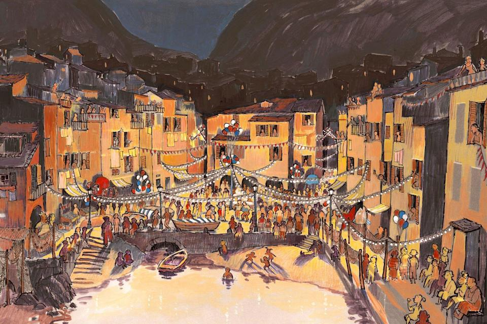 drawing of festival in fictional Italian town