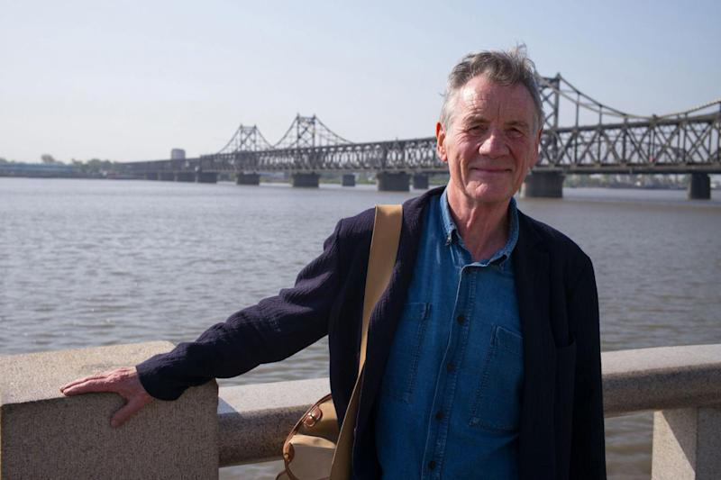 Pictured: Michael Palin standing near Sino-Korean Friendship bridge that seperates North Korea and South Korea (Channel 5)