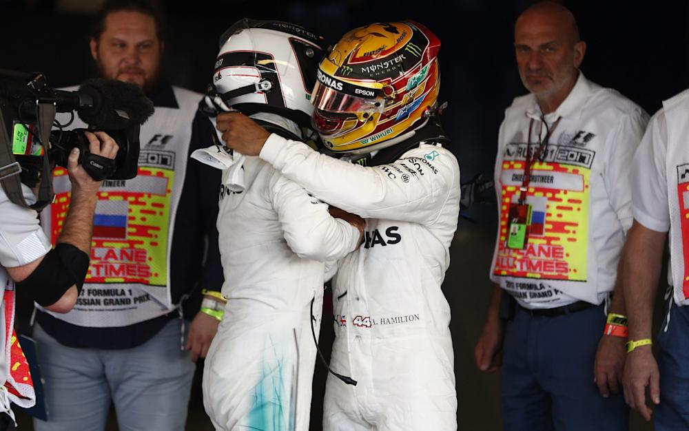 Lewis Hamilton (right) congratulates Valtteri Bottas (left) - Credit: Dunbar/LAT/REX/Shutterstock /Rex Features