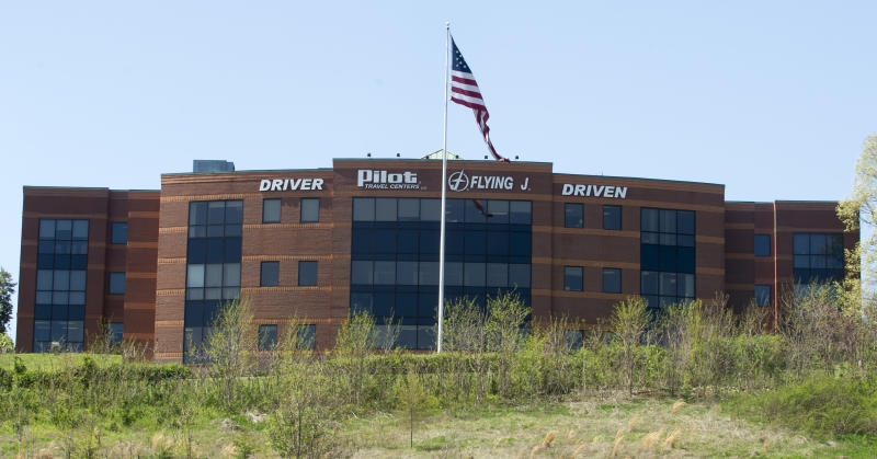 """The Pilot Flying J headquarters is seen Monday, April 15, 2013, in Knoxville, Tenn. FBI Supervisory Special Agent Marshall Stone said that FBI and IRS agents arrived at the corporate headquarters as part of a """"ongoing investigation."""" (AP Photo/Knoxville News Sentinel, J. Miles Cary)"""