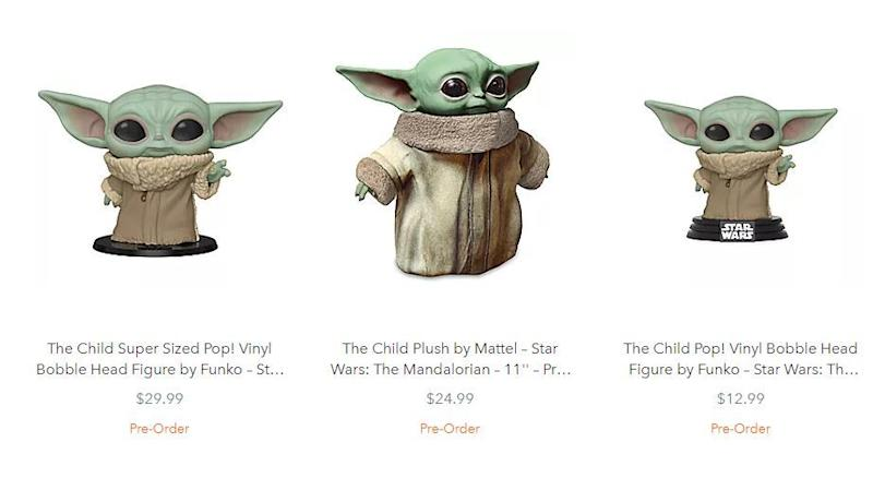 Des goodies Baby Yoda sur le site de Disney