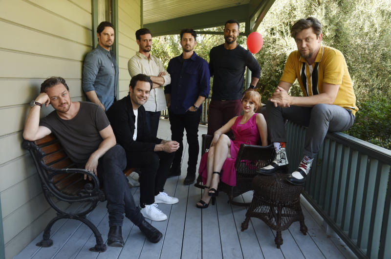 "In this Tuesday, Aug. 27, 2019 photo, Andy Muschietti, far right, director of ""It Chapter Two,"" poses for a portrait with cast members, from left, James McAvoy, Jay Ryan, Bill Hader, James Ransone, Andy Bean, Isaiah Mustafa and Jessica Chastain at Heritage Square Museum, in Los Angeles. (Photo by Chris Pizzello/Invision/AP)"