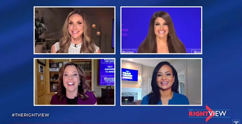 Clockwise from top left: Lara Trump, Kimberly Guilfoyle, Katrina Pierson and Mercedes Schlapp on their program.