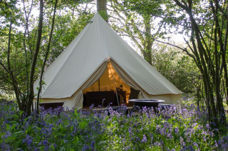 "<p>Light and airy but shaded by the trees, <a href=""http://www.canopyandstars.co.uk/britain/england/sussex/knepp-wildland-safaris/bechstein-tent"">Bechstein Tent</a> is fitted with pretty candle lanterns and a hand-built king size bed that grew out of these very woods. It's set inside the wildlife park, so you can book onto a safari to watch wild ponies, cattle, deer and pigs roam these 3,500 acres of former farmland. You get your own firepit, while a shared kitchen, bathroom and the shop are all a short stroll away. From £80 per night. Sleeps two.</p>"