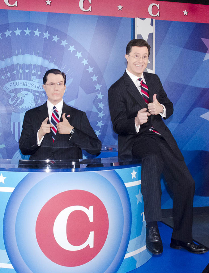 WASHINGTON, DC - NOVEMBER 16: Stephen Colbert unveils his wax figure during the Madame Tussauds Stephen Colbert Unveiling at Madame Tussauds on November 16, 2012 in Washington, DC. (Photo by Kris Connor/Getty Images)
