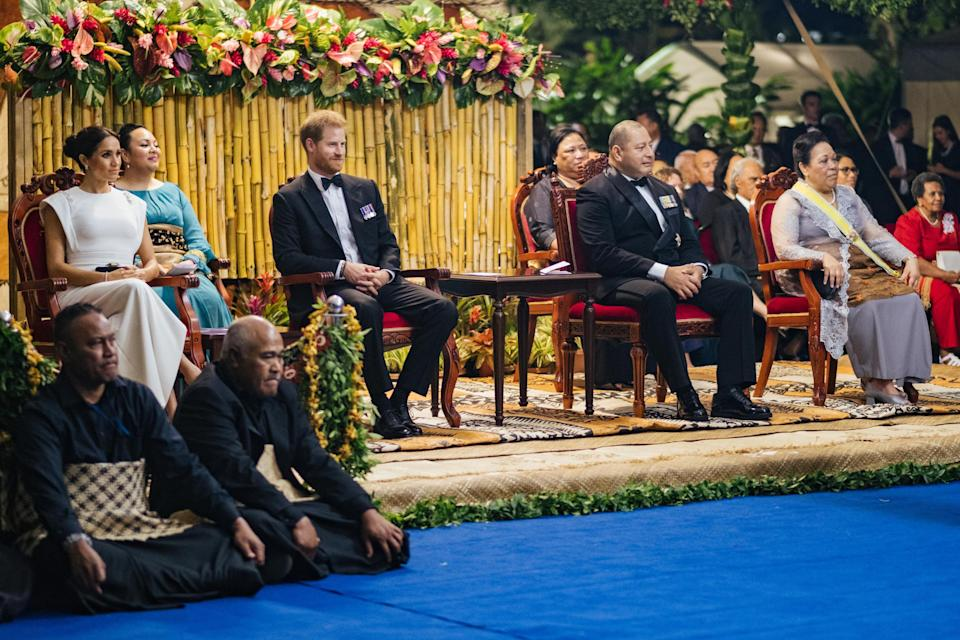 The Duke and Duchess watched traditional Tongan entertainment (PA)